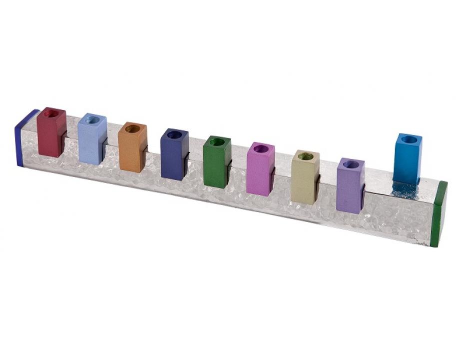 Emanuel Colorful Cubes on Hammered Bar Hanukkah Menorah