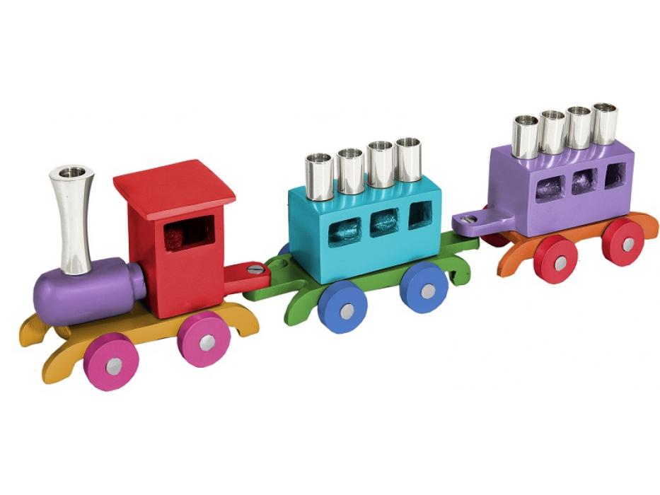Emanuel Colorful Train Hanukkah Menorah Anodized Aluminum