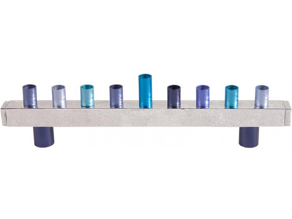 Emanuel Judaica Hammered Blue Block Colorful Hanukkah Menorah