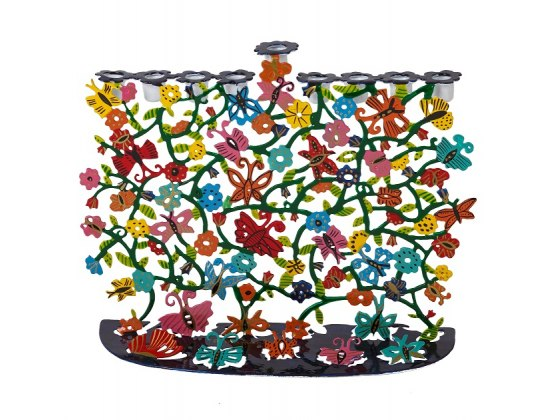Emanuel Judaica Hanukkah Menorah Butterflies and Flowers Design