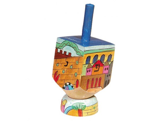 Emanuel Small hand-painted Wooden dreidel and stand, various designs