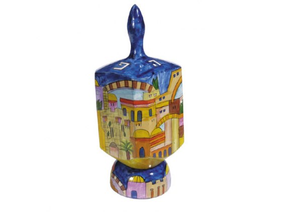Emanuel XLarge Wooden hand-painted dreidel and stand,  various designs