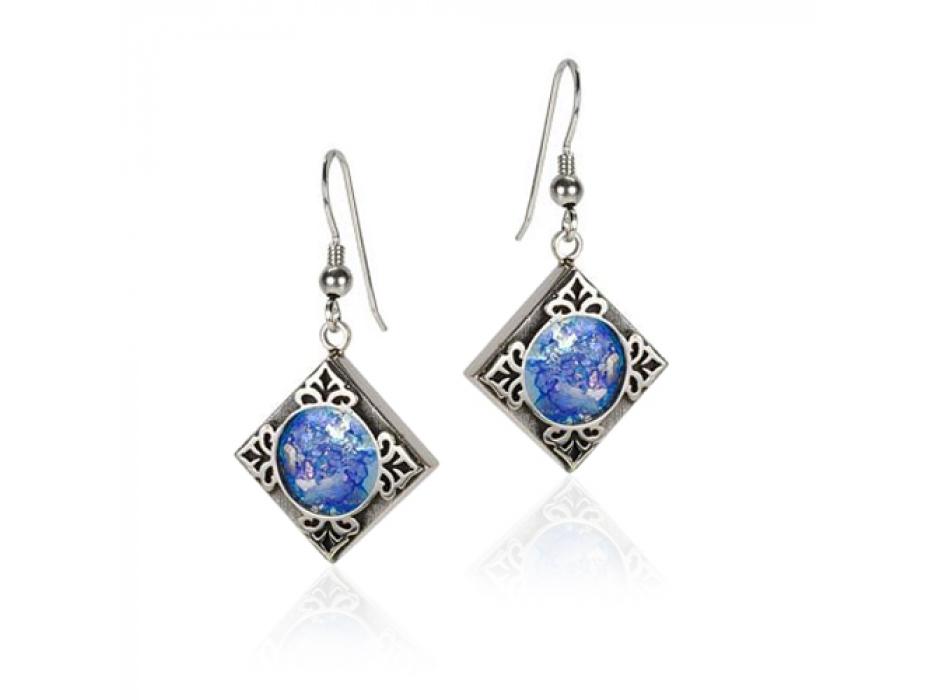 Embellished Silver Diamond Shaped Roman Glass Earrings