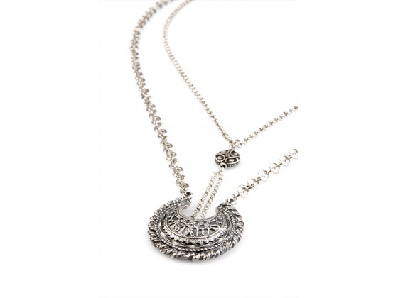 Engraved Silver Plate Double Chain & Pendant Necklace - Anava Jewelry