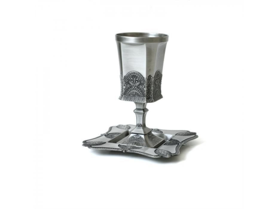 Filagree Design Silver Plated or Pewter, Kiddush Goblet