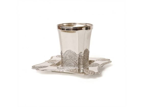 Filigree Design Silver Plated or Pewter, Kiddush Cup