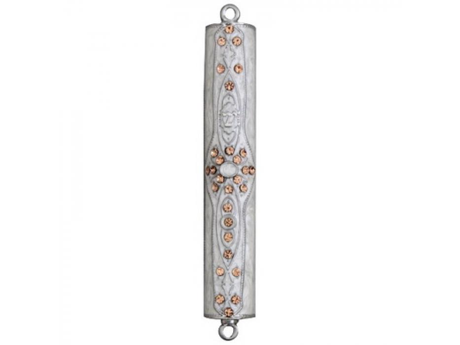 Flower White Enamel Mezuzah Case Set with Stones