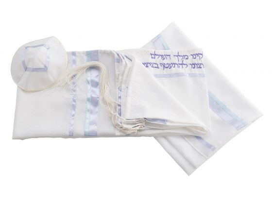 Galilee Silks Four Mothers Tallit with Lilac Stripes