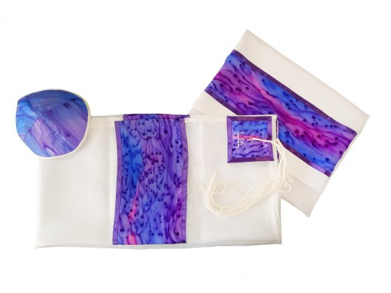 White Silk Tallit with Hand Painted Purple Sea By Galilee Silks