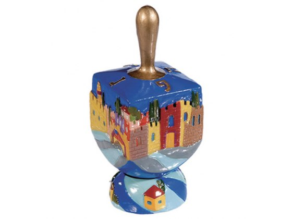 FREE Ceramic Hanukah Dreidel with Stand: Jerusalem Walls, Yair Emanuel