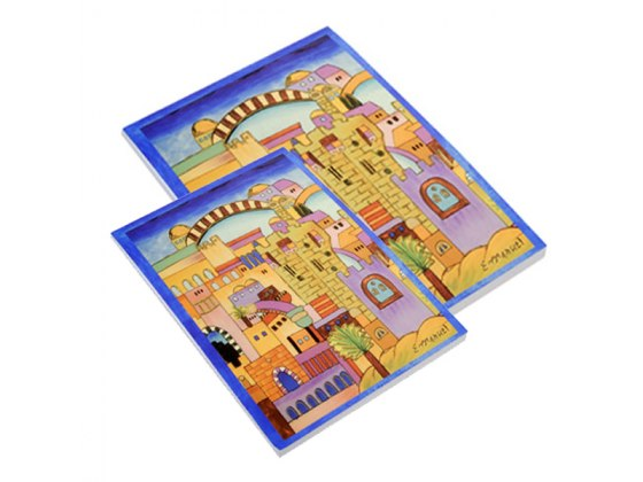 FREE Yair Emanuel Decorative Note Pad Set - Seven Species  (Sm&M)