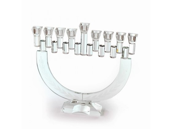 Frosted Olive Branch Crystal Hanukkah Menorah, Paldinox Novell Collection