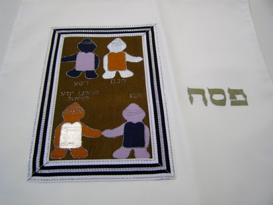 Galilee Silk - Appliqued & Handpainted Pure Silk Matza Cover - Four Sons
