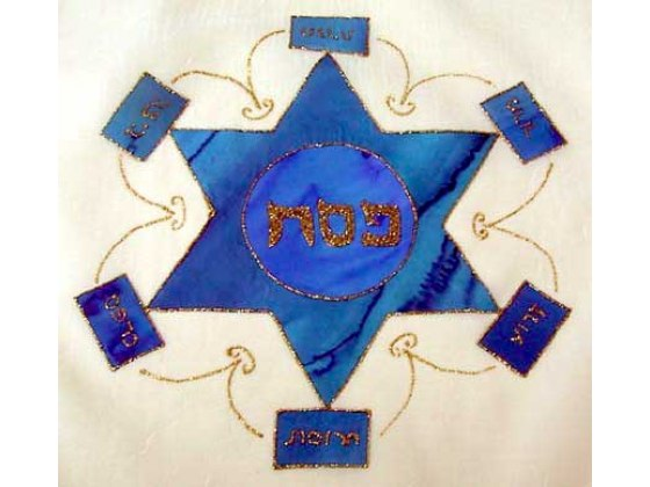 Galilee Silk - Appliqued & Handpainted Pure Silk Matza Cover - Star of David