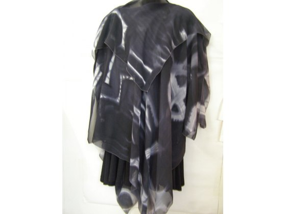 Galilee Silk - Black and Gray Abstract Silk Poncho