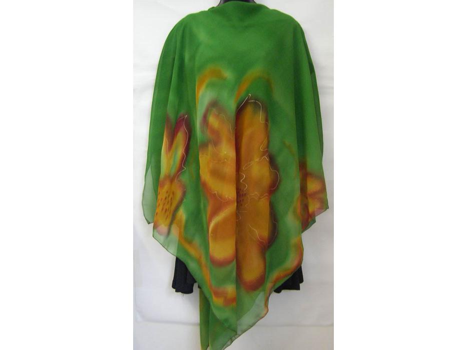 Galilee Silk - Green Floral Silk Poncho