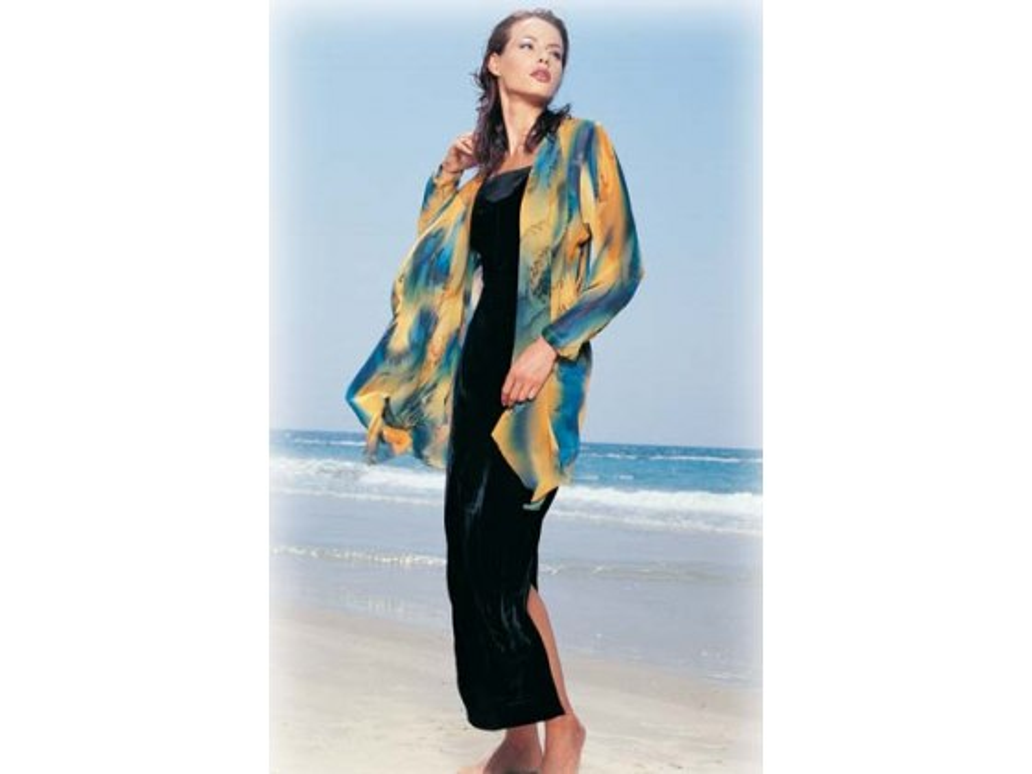 Galilee Silk - Long Jacket with Draped