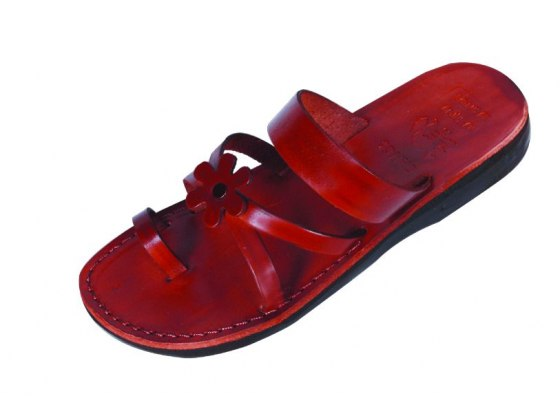 Gentle Criscross with Flower Leather Sandals  – Sarit