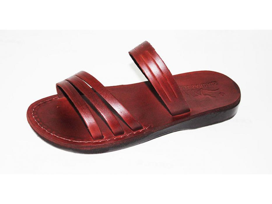 Gentle three front strap Slip on Handmade Leather  Sandals - Dorit