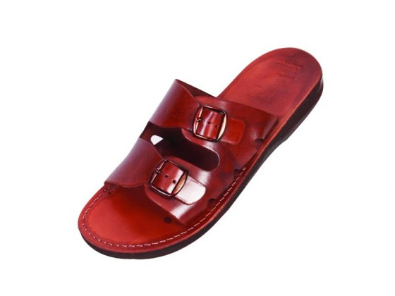 Genuine Leather and Buckled Sandals - Adar