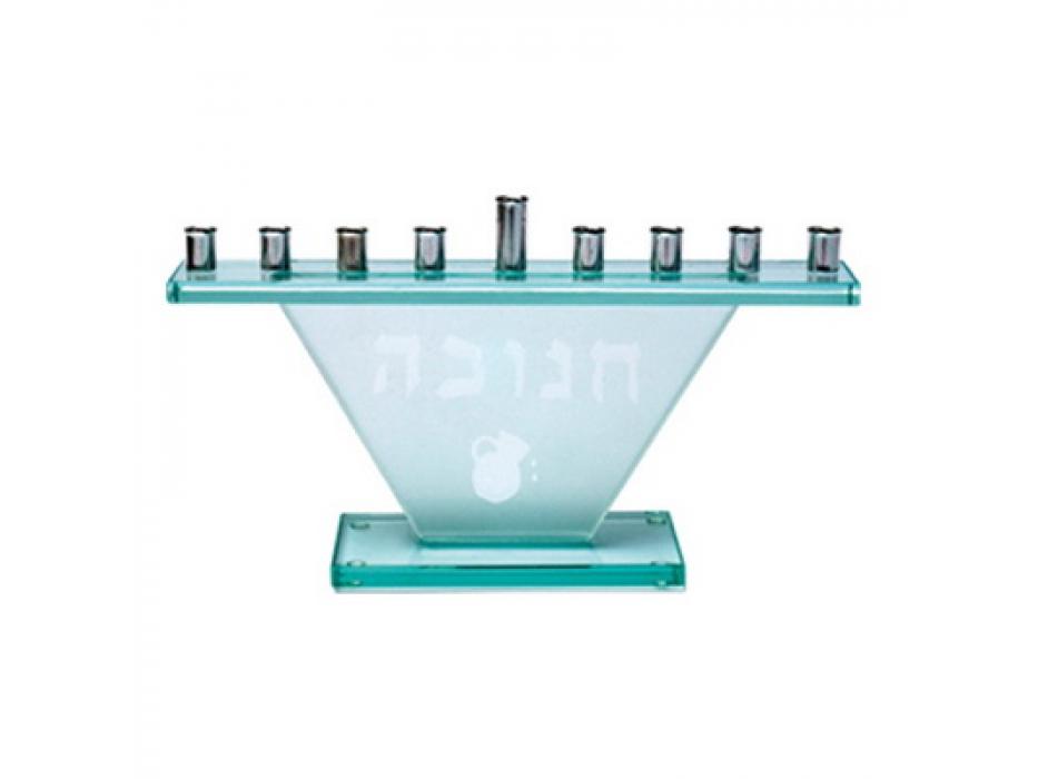 Glass Hanukkah Menorah with Hanukkah and Oil Pitcher