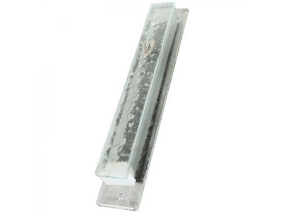 Glass Mezuzah Case Glass Flakes Style