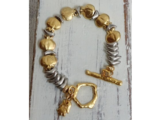 Gold and Silver Bracelet with a Hamsa and Pomegranate