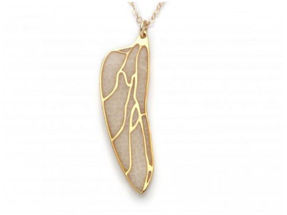 Gold Dragonfly Wing Necklace By Adina Plastelina
