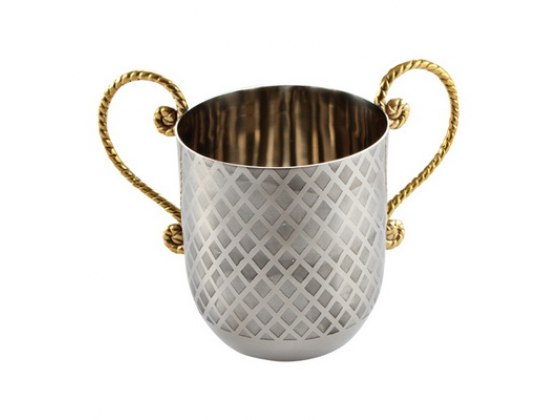 Gold Handles Stainless Steel Pattern of Diamonds Washing Cup