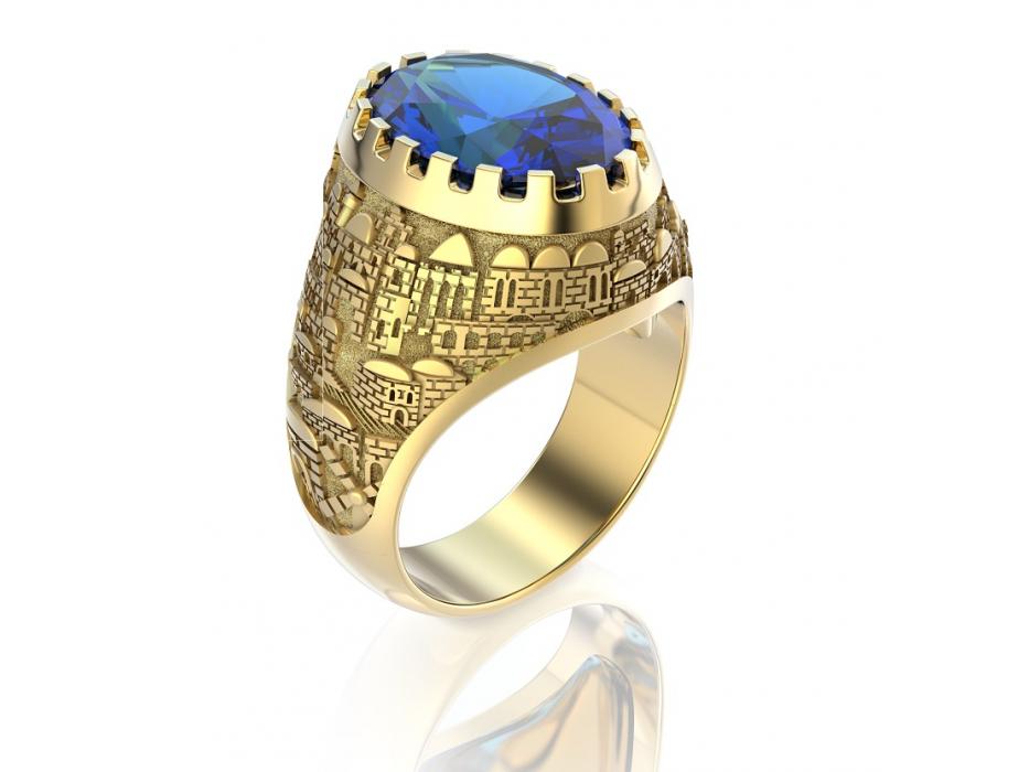 14K yellow Gold Jerusalem Ring Sapphire Stone