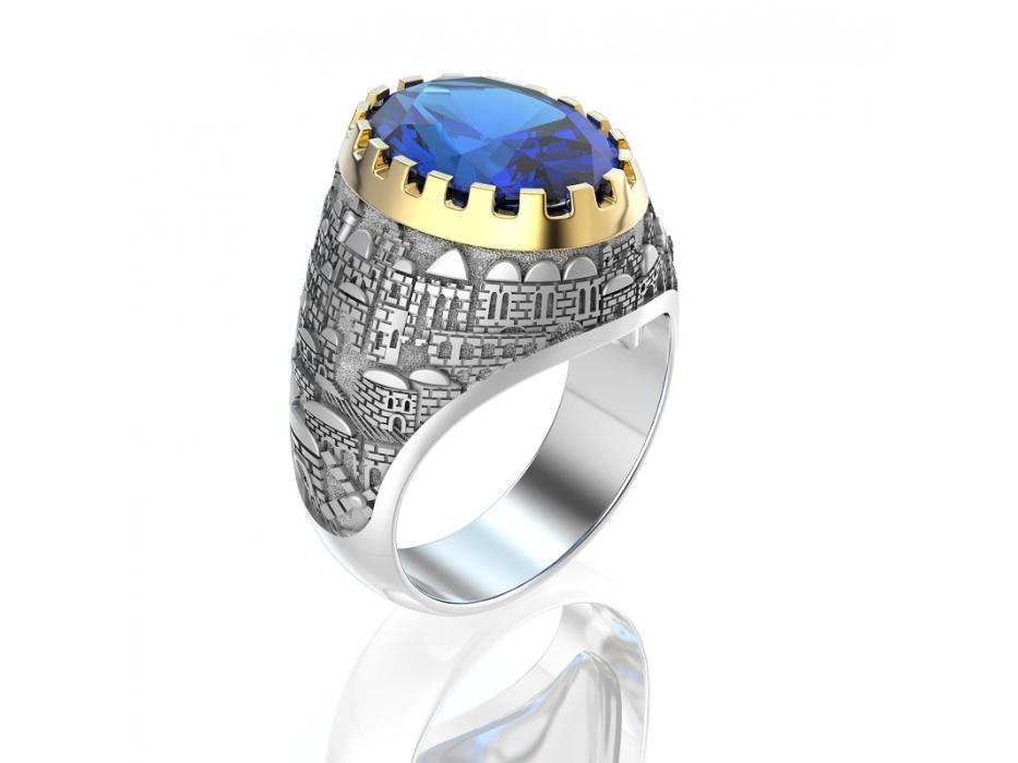 Gold Jerusalem Ring Sapphire Stone