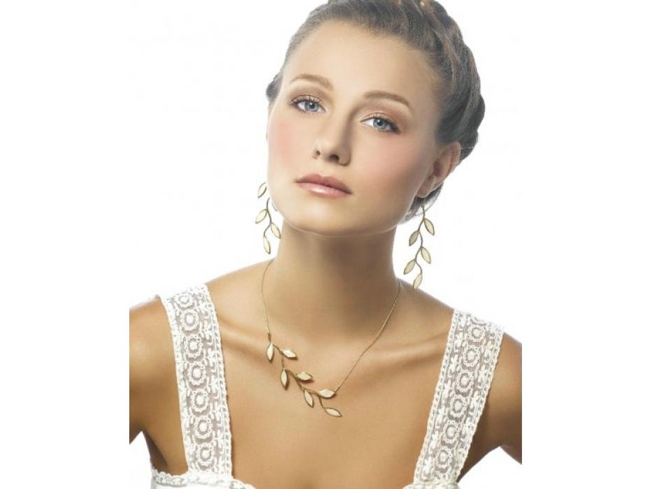 Gold Olive Branch Necklace by Adina Plastelina