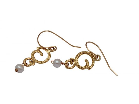 Gold Ornament Earring with Drop Pearl, Jewish Jewelry