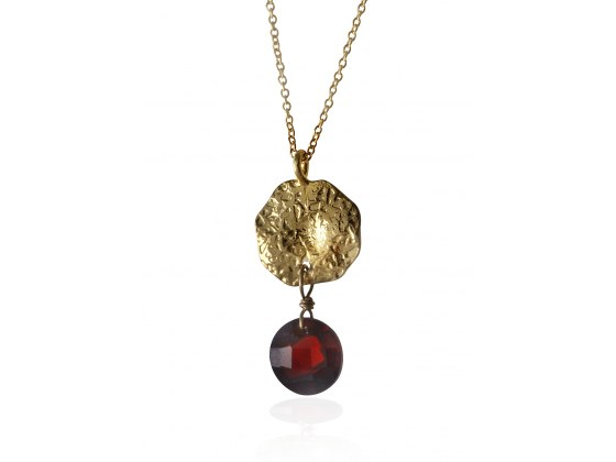 Gold Plated Coin and Garnet Necklace, Israeli Jewelry