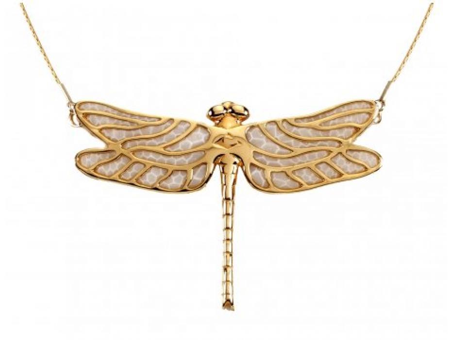 Gold Plated Dragonfly Necklace by Adina Plastelina