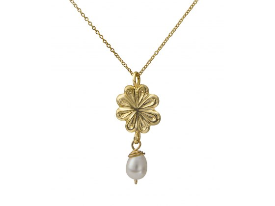 Gold Plated Flower and White Pearl Necklace, Israeli Jewelry