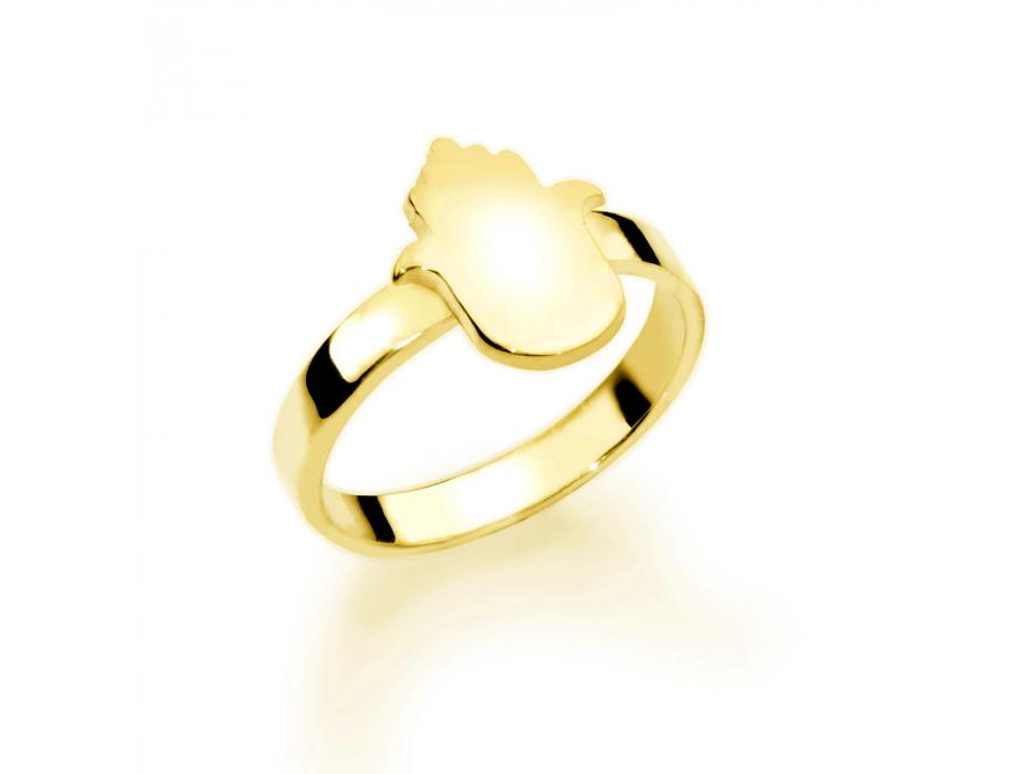 Gold Plated Hebrew Hamsa Name Ring
