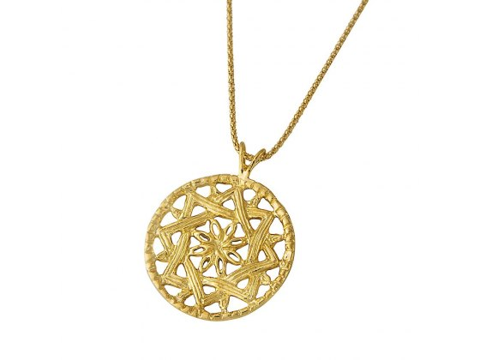 Gold Plated Menorah Medallion Necklace, Israeli Jewelry