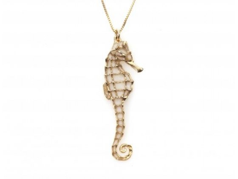 Gold Seahorse Pendant by Adina Plastelina