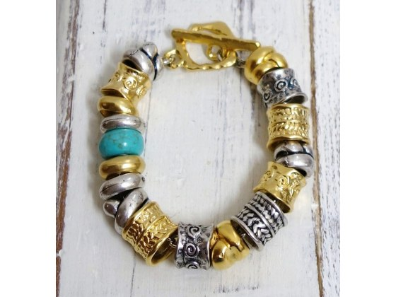 Gold Silver and Turquoise Stone Beads Bracelet