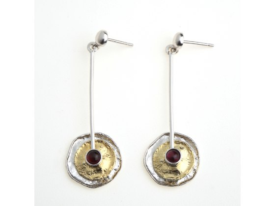 Buy Gold  & Silver Jewelry Earrings Featuring Garnet Stone Center