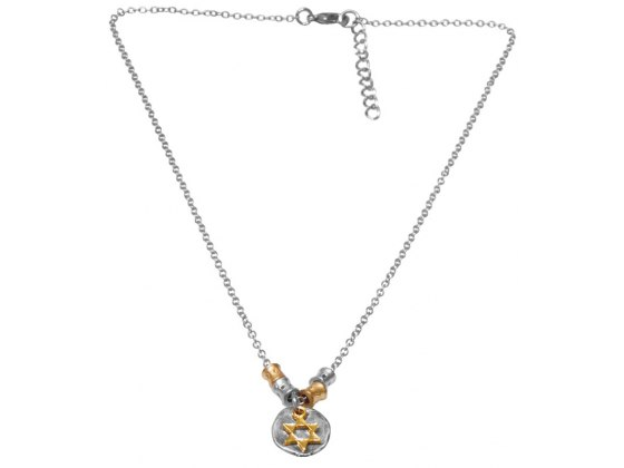 Gold on Silver Medallion, Star of David Necklace