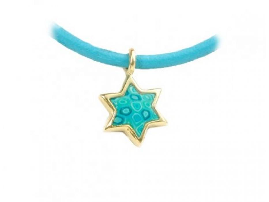 Gold Pendant on a Leather Bracelet by Adina Plastelina