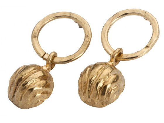 Golden Bell Hoop Earrings, Jewish Jewelry