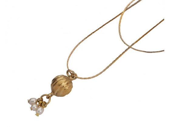 Golden Bell Necklace with Pearls, Jewish Jewelry