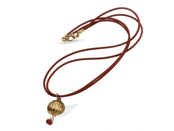 Golden Bell Pendant on a Leather Cord