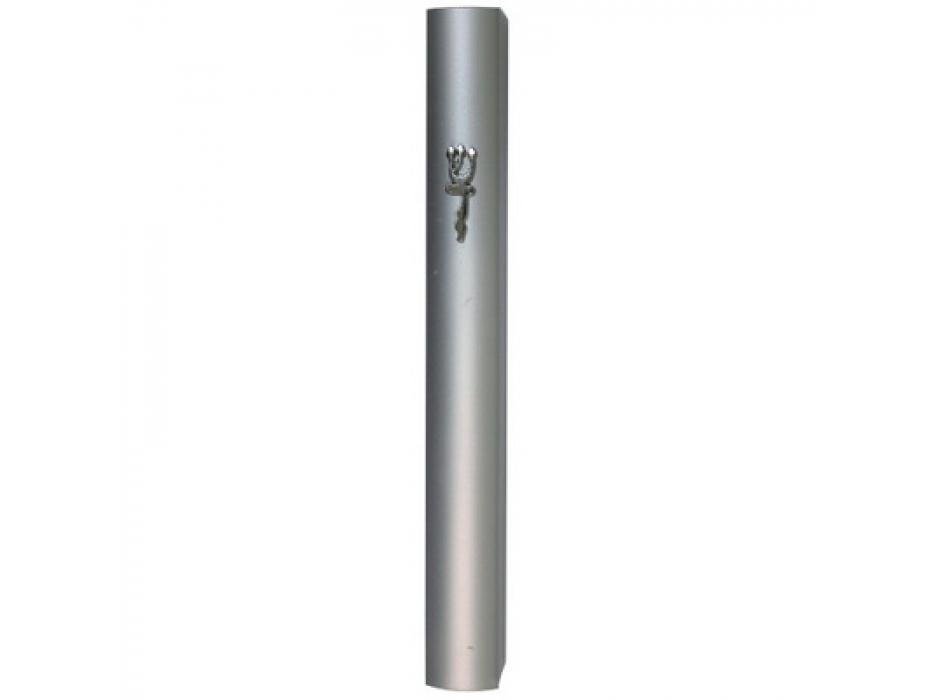 Gray Aluminum Mezuzah Case with Metal 'Shadai'