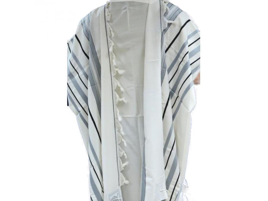 Gray Black and Silver striped Maalot Wool Tallit Prayer Shawl