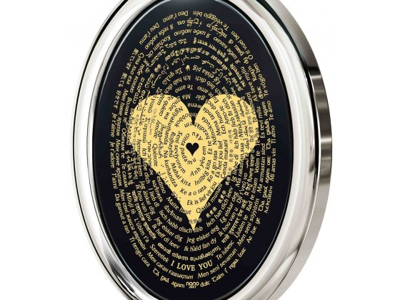 I Love You In 120 Languages on Onyx and 14K White Gold Frame