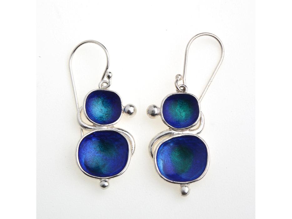 Green-blue Enamel painted Silver Earrings - Idit Jewelry